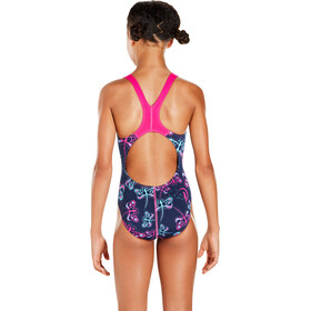 speedo Girls Flashfly Allover Splashback Swimsuit Navy/Turquoise/Electric Pink
